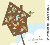 vector set of cute birds.... | Shutterstock .eps vector #220654873
