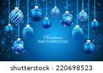 Christmas Balls On Blue...