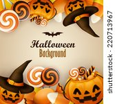 halloween background with... | Shutterstock .eps vector #220713967