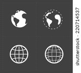 earth vector icons set on dark... | Shutterstock .eps vector #220714537