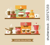 coffee flat collection drink...   Shutterstock .eps vector #220717153