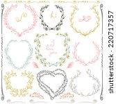 set  of hand drawn floral frame ... | Shutterstock .eps vector #220717357