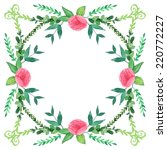 watercolor peony flowers frame. ...   Shutterstock .eps vector #220772227