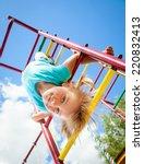 little girl having fun playing...   Shutterstock . vector #220832413