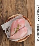raw chicken breast with thyme...   Shutterstock . vector #220848127