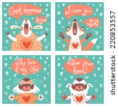 set of cards with funny animals.... | Shutterstock .eps vector #220853557