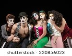 five serious cirque clowns on... | Shutterstock . vector #220856023