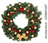 christmas and winter wreath... | Shutterstock . vector #220869187