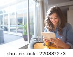 fashion woman using tablet with ...   Shutterstock . vector #220882273