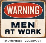 vintage metal sign   warning... | Shutterstock .eps vector #220889737