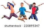 isolated full length group... | Shutterstock . vector #220895347