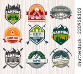 set of camping logo  labels and ... | Shutterstock .eps vector #220938103