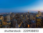 aerial view of new york at dusk | Shutterstock . vector #220938853
