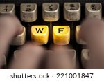 word we on the old typewriter | Shutterstock . vector #221001847