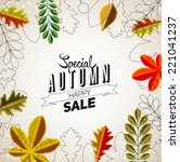 autumn sale abstract poster ... | Shutterstock .eps vector #221041237