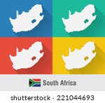 south africa world map in flat...