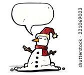 cartoon snowman with speech... | Shutterstock .eps vector #221069023