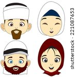 vector illustration four muslim ... | Shutterstock .eps vector #221087653