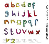cartoon pencil shaped alphabet | Shutterstock .eps vector #221102197