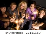 above view of happy and... | Shutterstock . vector #22111180