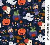 bride halloween vector seamless ... | Shutterstock .eps vector #221123197