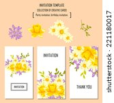 set of invitations with floral... | Shutterstock .eps vector #221180017