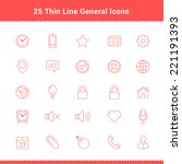 set of thin line stroke general ... | Shutterstock .eps vector #221191393
