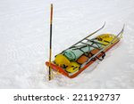 Ready Ski Patrol Sled On  Snow