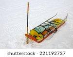 Ready Ski Patrol Sled On  Snow
