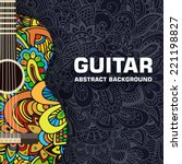 Abstract Retro Music Guitar On...