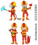 illustration of fireman with... | Shutterstock .eps vector #221210083