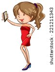 illustration of a woman taking... | Shutterstock .eps vector #221211343