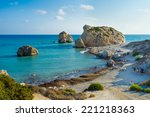 The famous beach located next to the Rock of the Greek, the birthplace of the goddess Aphrodite, Paphos, Cyprus.