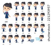 set of various poses of school... | Shutterstock .eps vector #221293957