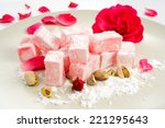 turkish delight  on plate | Shutterstock . vector #221295643