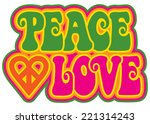 peace and love retro style text ...