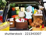 moving boxes and suitcases in...   Shutterstock . vector #221343307
