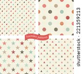 set of 4 seamless colorful... | Shutterstock .eps vector #221359213