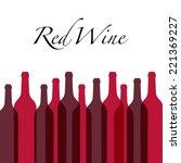 red wine bottles | Shutterstock .eps vector #221369227