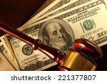 Wooden Gavel And Dollar...