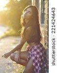 fashion photo of beautiful... | Shutterstock . vector #221424643