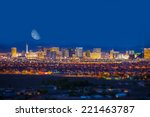 Stock photo las vegas strip and the moon las vegas panorama at night nevada united states 221463787