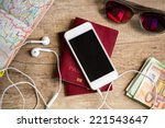 preparation for travel  cell... | Shutterstock . vector #221543647