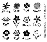 12 Flower Icon Set. Black...