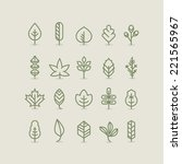 leaves collection  outline ... | Shutterstock .eps vector #221565967