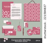 sakura pattern stationery... | Shutterstock .eps vector #221584837
