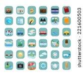 travel flat icons set  ...