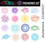 Colorful Fireworks On White...