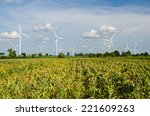 wind turbine against cloudy... | Shutterstock . vector #221609263