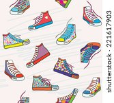 seamless pattern with sneakers  ... | Shutterstock .eps vector #221617903